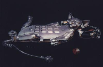 Airbrush Auto Katze silber